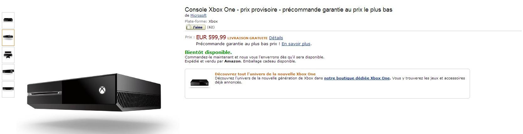 Prix de Xbox One Prix de 599$ Pour la Xbox