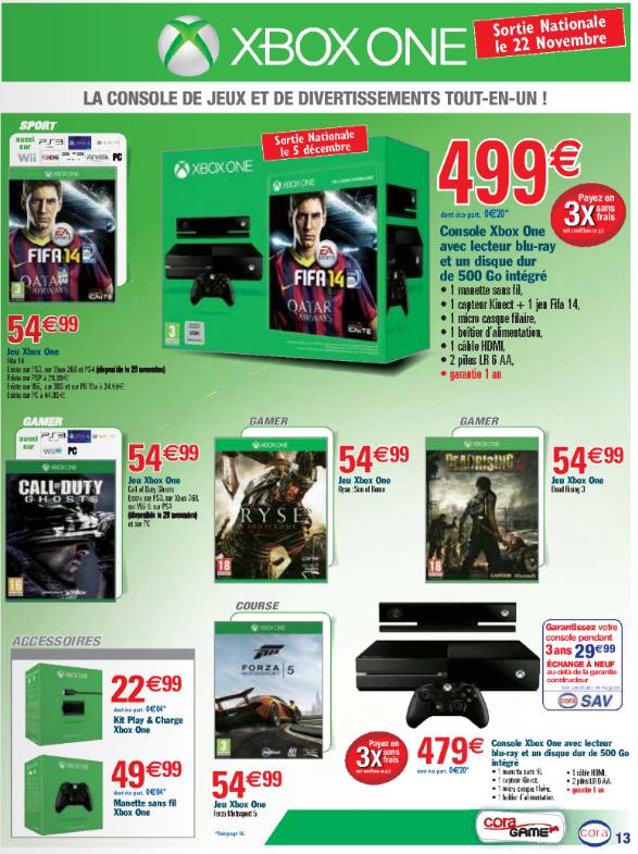 Le prix des jeux selon les enseignes actualit s xbox one for Cora 11 novembre